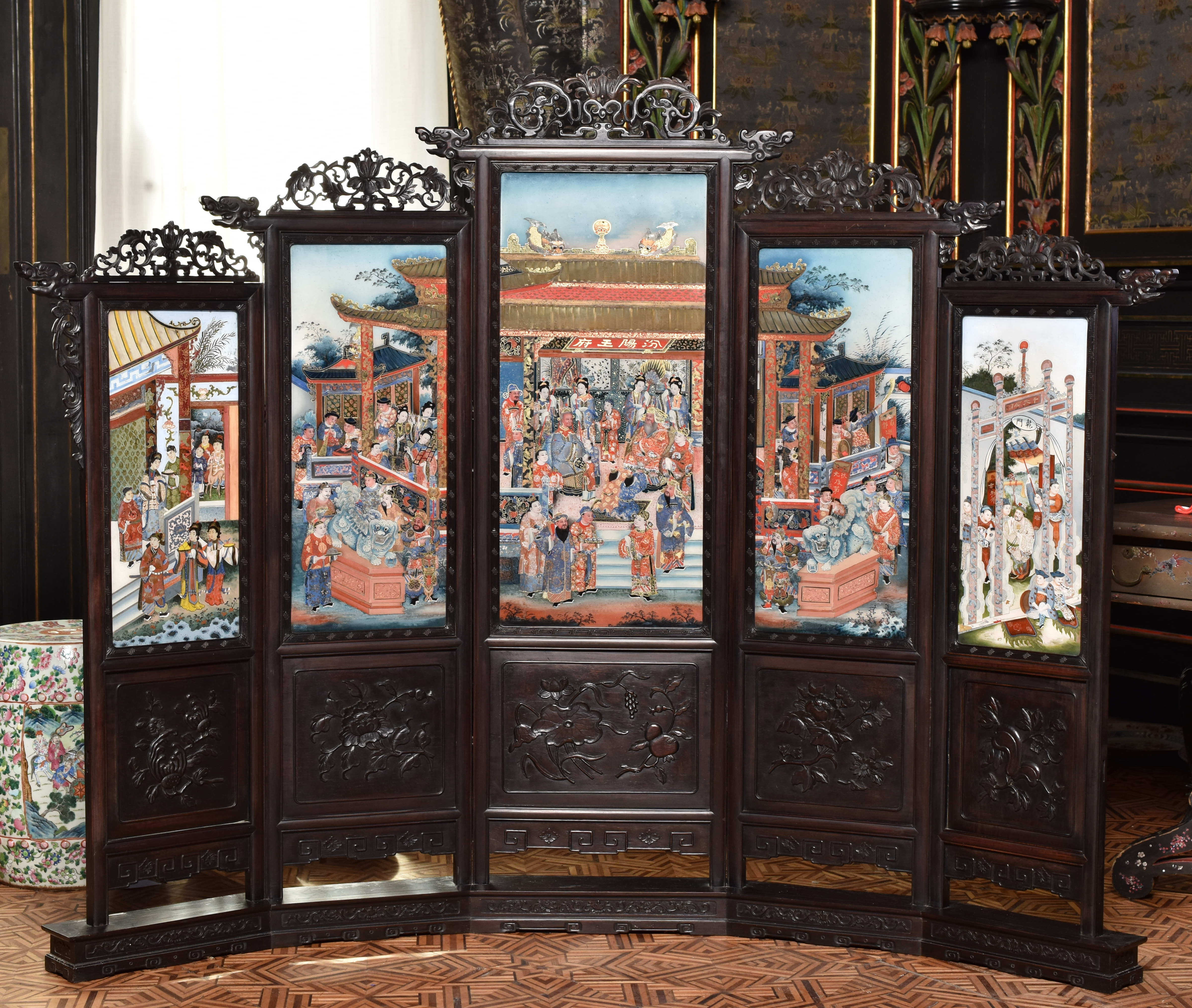 Screen, engraved wood and painted glass, mid-19th century